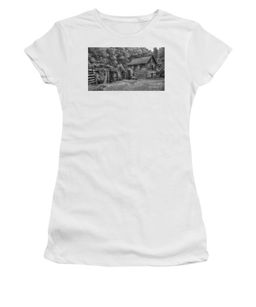 Women's T-Shirt (Junior Cut) featuring the photograph Mingus Mill Black And White Mingus Creek Great Smoky Mountains Art by Reid Callaway