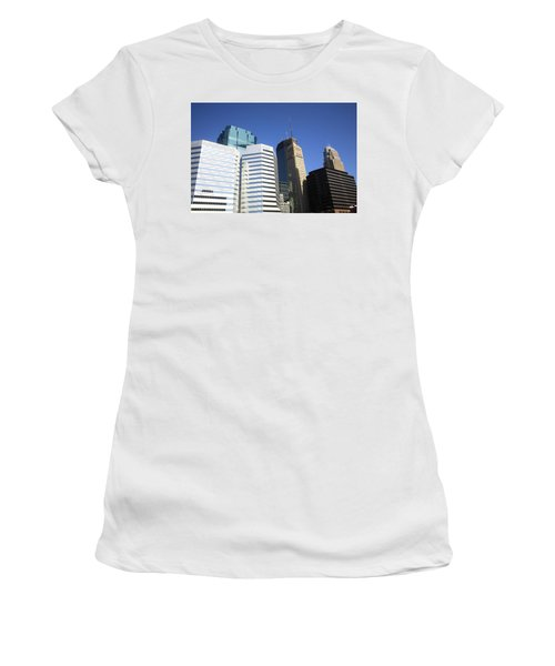 Women's T-Shirt (Junior Cut) featuring the photograph Minneapolis Skyscrapers 11 by Frank Romeo