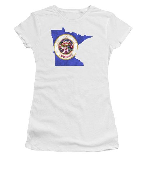 Minnesota Map Art With Flag Design Women's T-Shirt