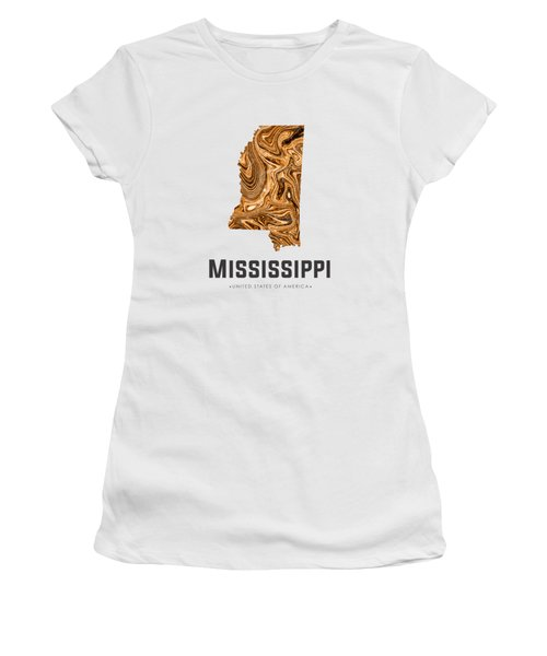 Mississippi Map Art Abstract In Brown Women's T-Shirt