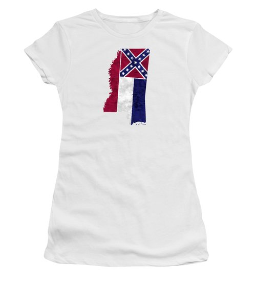 Mississippi Map Art With Flag Design Women's T-Shirt