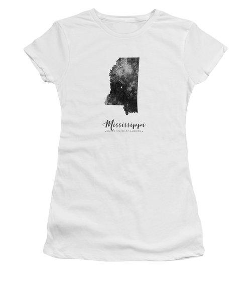 Mississippi State Map Art - Grunge Silhouette Women's T-Shirt