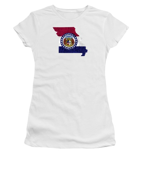 Missouri Map Art With Flag Design Women's T-Shirt