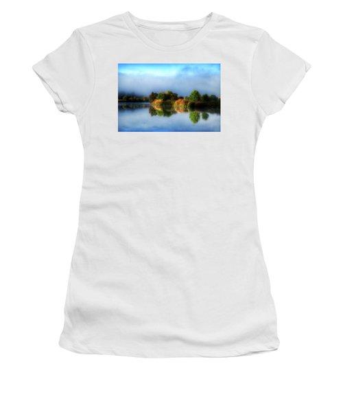 Misty Fall Colors On The River Women's T-Shirt (Junior Cut) by Lynn Hopwood