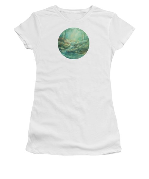 The Misty Forest Stream Women's T-Shirt (Junior Cut) by Mary Wolf