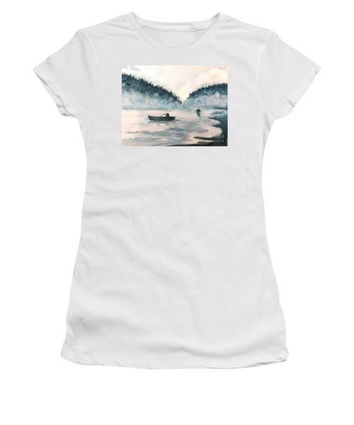 Misty Lake Women's T-Shirt (Junior Cut) by Lucia Grilletto