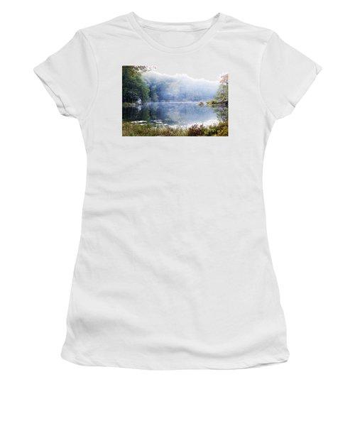 Women's T-Shirt (Junior Cut) featuring the photograph Misty Morning At John Burroughs #1 by Jeff Severson