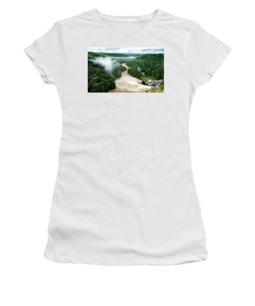 Misty Morning At Summersville Lake Dam Women's T-Shirt