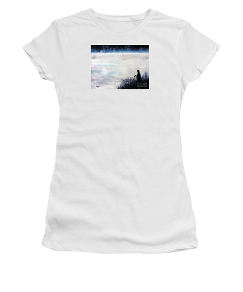 Misty Morning Photographer Women's T-Shirt (Junior Cut) by Tom Riggs
