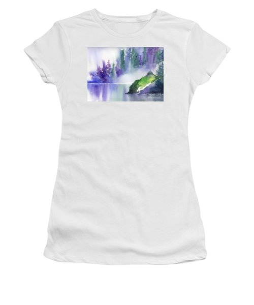 Women's T-Shirt (Junior Cut) featuring the painting Misty Summer by Yolanda Koh