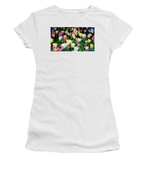 Mixed Tulips In Bloom  Women's T-Shirt
