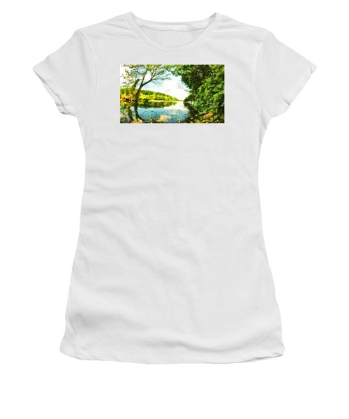 Women's T-Shirt (Athletic Fit) featuring the photograph Mohegan Lake By The Bridge by Derek Gedney