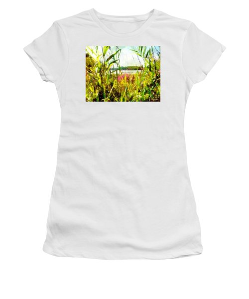 Women's T-Shirt (Athletic Fit) featuring the painting Mohegan Lake In The Brush by Derek Gedney