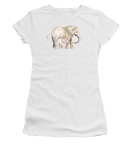 Mom And Baby Elephant 2 Women's T-Shirt (Athletic Fit)