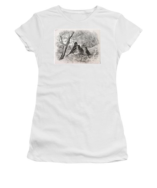 Women's T-Shirt (Junior Cut) featuring the photograph Mom, I Am Hungry by Debby Pueschel