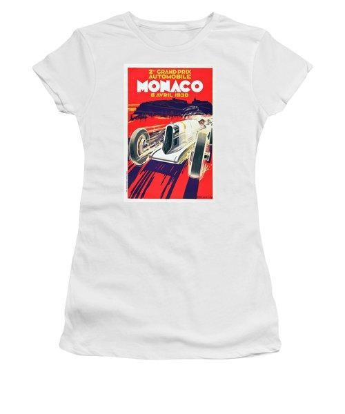Women's T-Shirt (Junior Cut) featuring the digital art Monaco Grand Prix 1930 by Taylan Apukovska