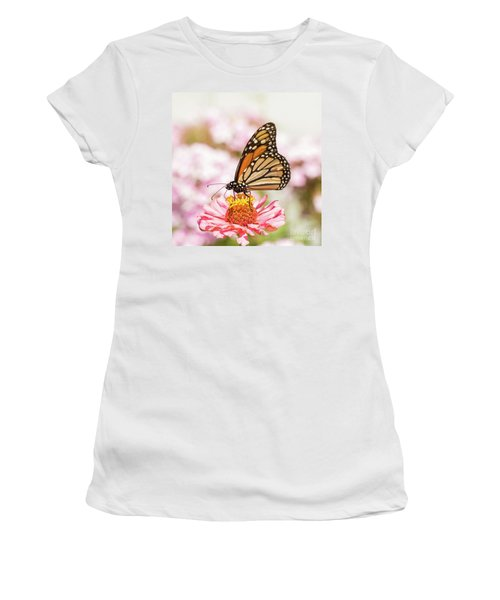 Monarch Butterfly On Pink Women's T-Shirt (Athletic Fit)
