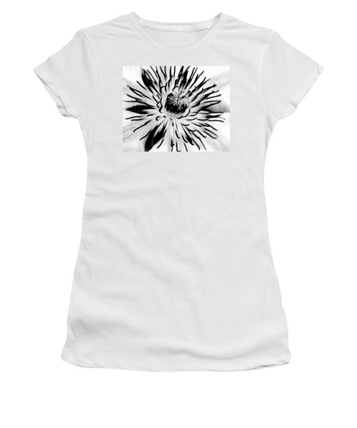 Women's T-Shirt (Junior Cut) featuring the photograph Mono Clematis by Baggieoldboy
