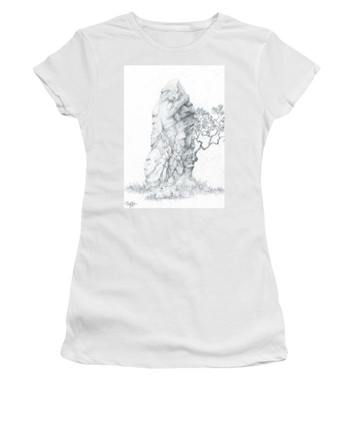 Women's T-Shirt (Junior Cut) featuring the drawing Monolith 2 by Curtiss Shaffer