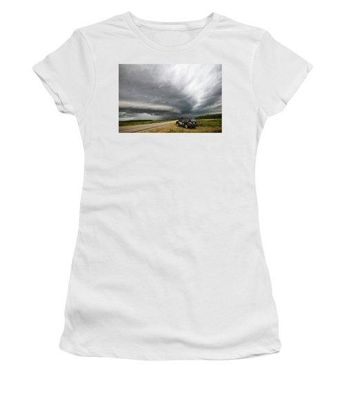 Monster Storm Near Yorkton Sk Women's T-Shirt (Athletic Fit)
