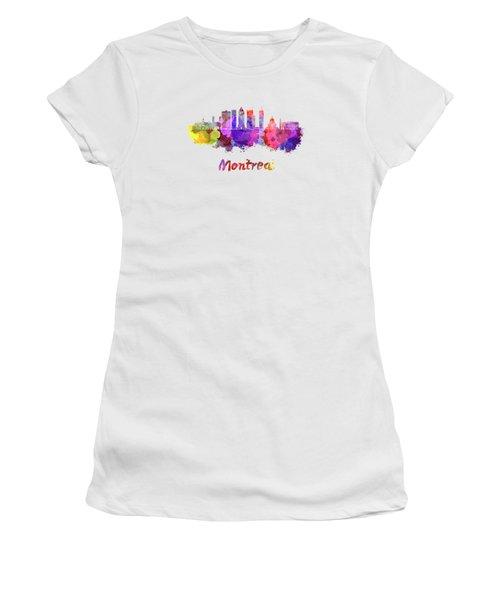 Montreal Skyline In Watercolor Splatters Women's T-Shirt