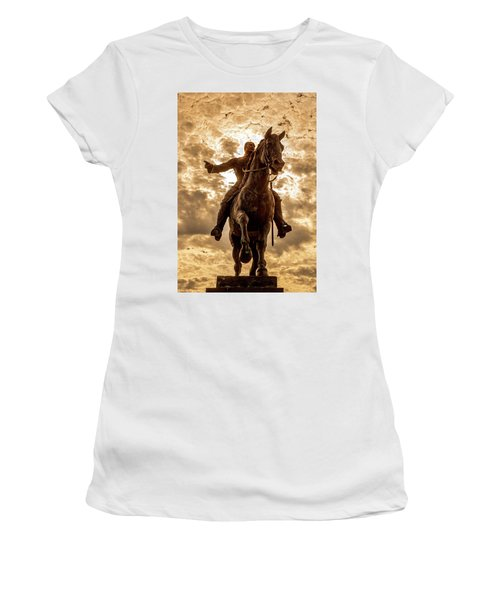 Women's T-Shirt (Athletic Fit) featuring the photograph Monumento A Calixto Garcia Havana Cuba Malecon Habana by Charles Harden