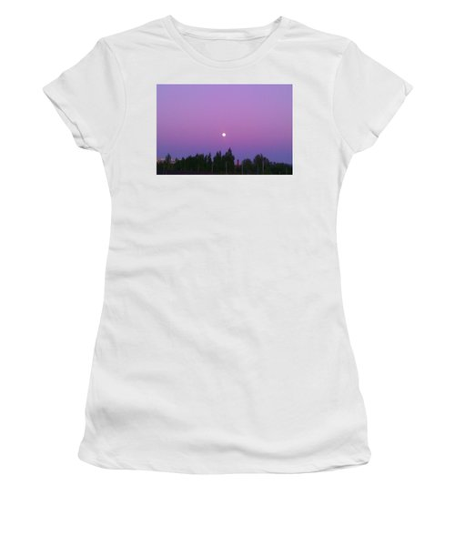 Moon On Perfect Purple Women's T-Shirt (Athletic Fit)