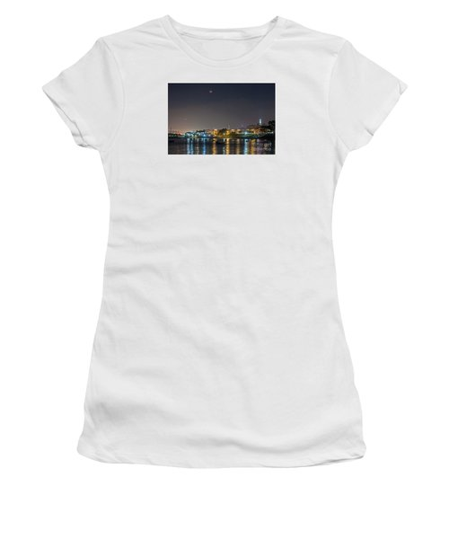 Women's T-Shirt featuring the photograph Moon Over Aquatic Park by Kate Brown