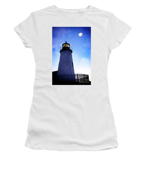 Moon Over Lighthouse Women's T-Shirt (Athletic Fit)