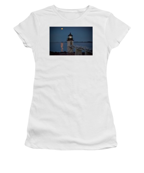 Women's T-Shirt (Athletic Fit) featuring the photograph Moon Over Marshall Point by Rick Berk