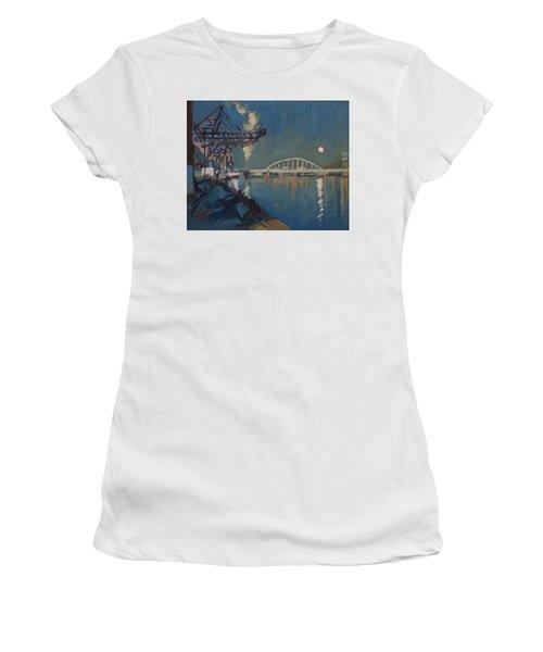 Moon Over The Railway Bridge Maastricht Women's T-Shirt (Athletic Fit)