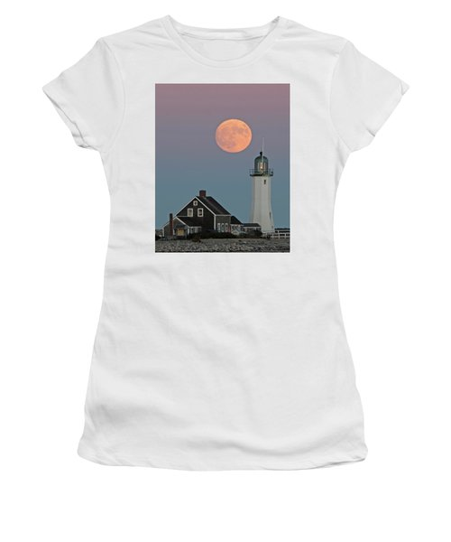 Moon Rise Over Scituate Women's T-Shirt (Junior Cut) by Stephen Flint