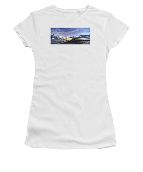 Moonlit Beach Sunset Seascape 0272b1 Women's T-Shirt