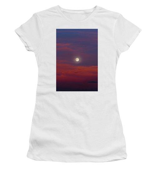 Women's T-Shirt featuring the photograph Moonrise, Sunset by Jason Coward