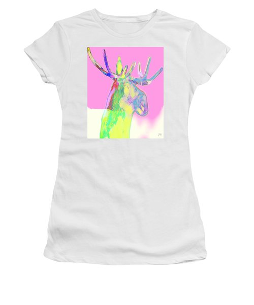 Women's T-Shirt featuring the mixed media Moosemerized by Jessica Eli