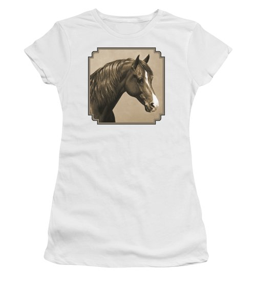 Morgan Horse Painting In Sepia Women's T-Shirt (Athletic Fit)