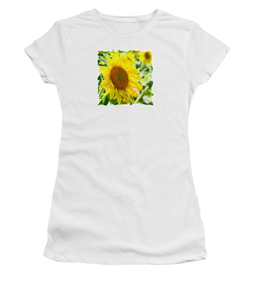 Women's T-Shirt (Junior Cut) featuring the photograph Morning Glory Farm Sun Flower by Vinnie Oakes
