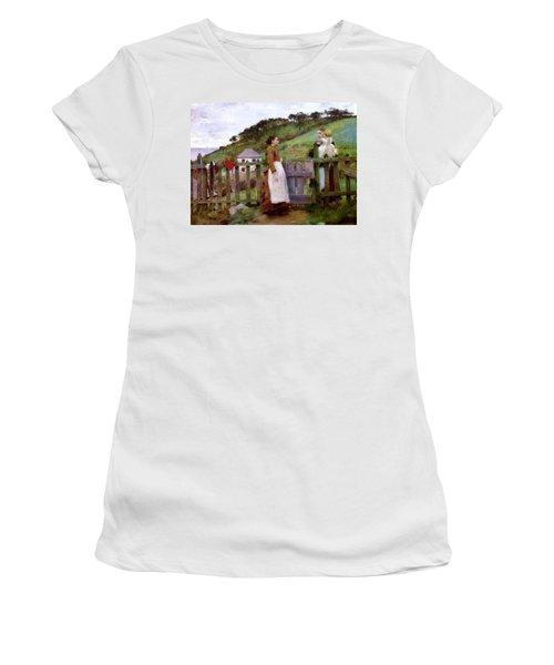Women's T-Shirt (Junior Cut) featuring the painting Morning Gossip by Henry Scott Tuke