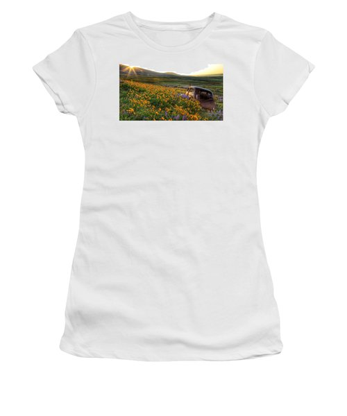 Morning Light On The Old Rusty Car Women's T-Shirt (Junior Cut) by Lynn Hopwood