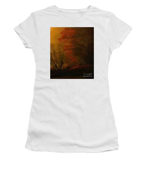 Morning Sunrise With Fog Touching The Tree Tops In Georgia. Women's T-Shirt