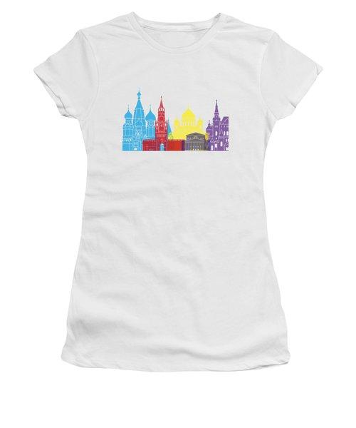 Moscow Skyline Pop Women's T-Shirt (Junior Cut) by Pablo Romero