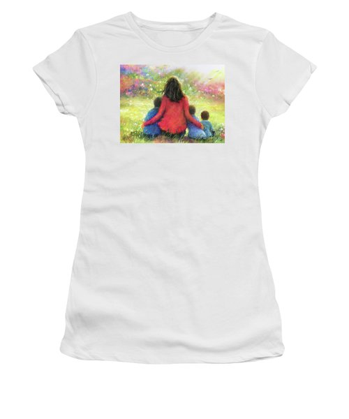 Mother And Three Sons In The Garden Women's T-Shirt
