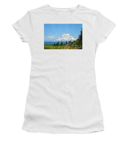 Mount Rainier Watercolor Women's T-Shirt (Athletic Fit)