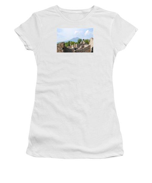 Mount Vesuvius Beyond The Ruins Of Pompei Women's T-Shirt (Athletic Fit)