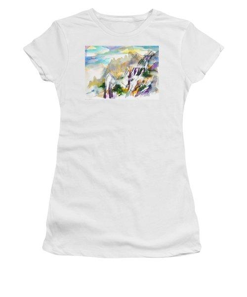 Mountain Awe #2 Women's T-Shirt (Junior Cut) by Betty M M Wong