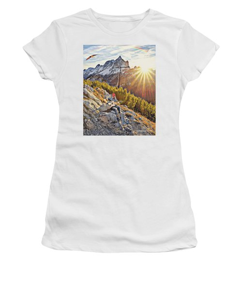 Women's T-Shirt featuring the mixed media Mountain Of The Lord by Jessica Eli