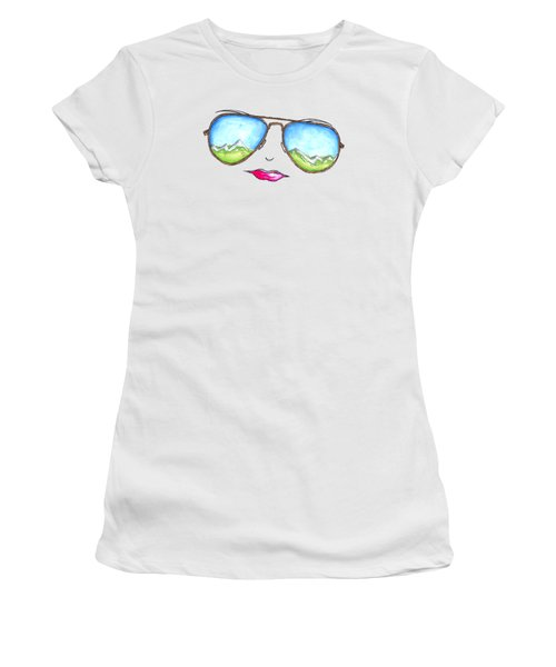 Mountain View Aviator Sunglasses Pop Art Painting Pink Lips Aroon Melane 2015 Collection Women's T-Shirt (Athletic Fit)
