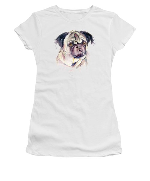 Mr Thinker Pug Watercolor Women's T-Shirt (Junior Cut) by Melly Terpening