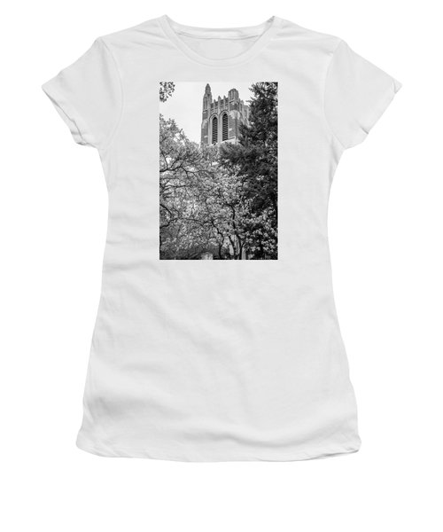 Msu Beaumont Tower Black And White 3 Women's T-Shirt (Athletic Fit)