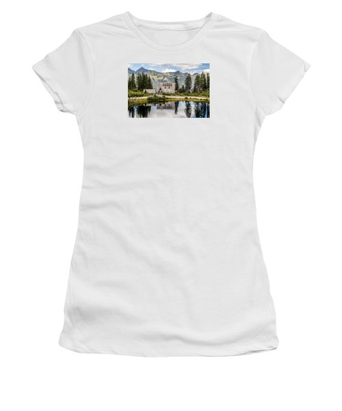 Mt Baker Lodge In Picture Lake 1 Women's T-Shirt (Junior Cut) by Rob Green